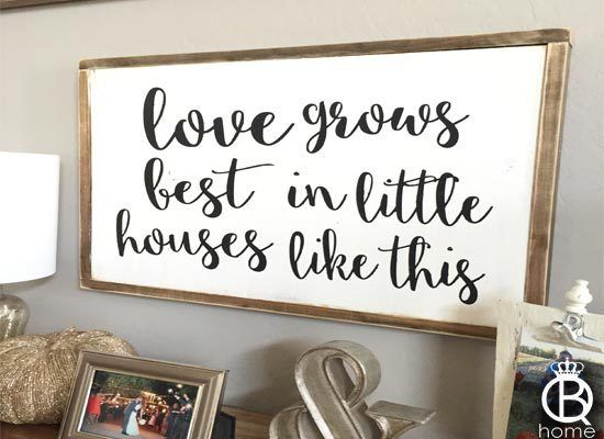 Framed Love Grows Best In Little Houses Wood Sign - QueenBHome