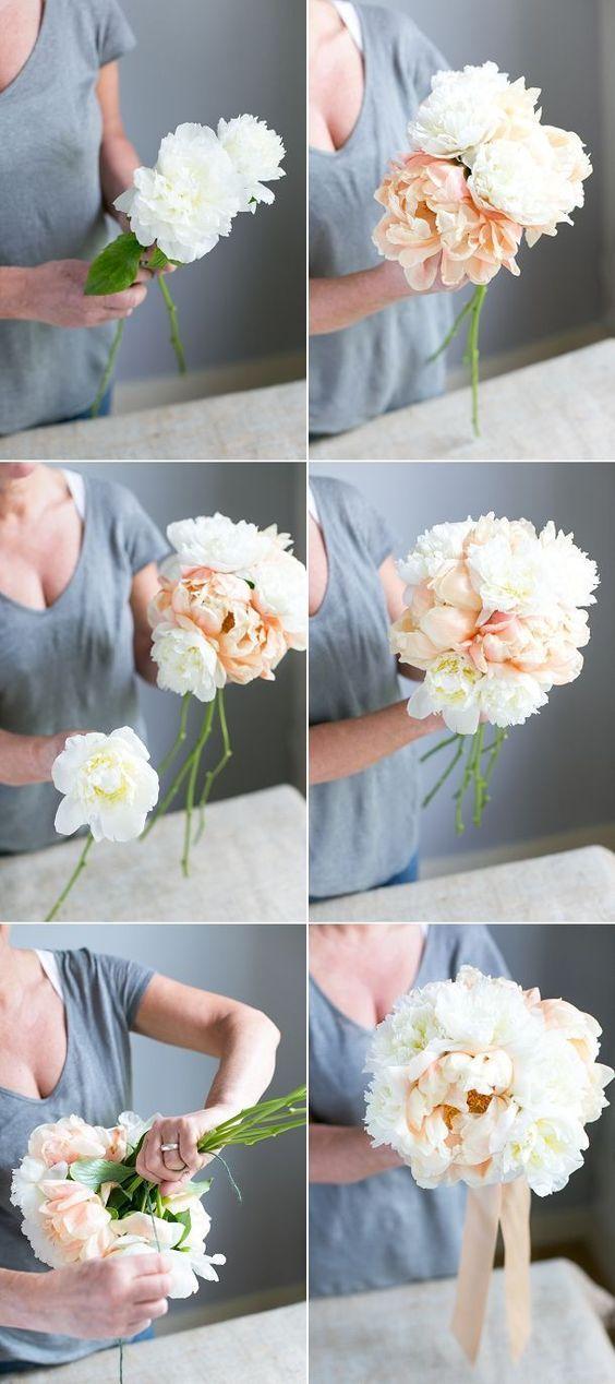 Tutorial para hacer un ramo de novia de peonias atado a mano.