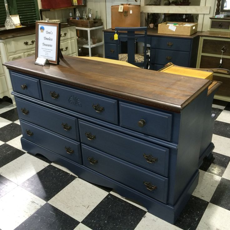 Dresser painted navy with black glaze and a refinished stained top.