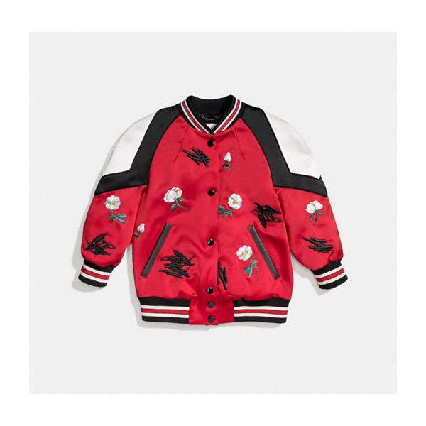 Shrunken Varsity Jacket - Kërkimi Google ❤ liked on Polyvore featuring outerwear, jackets, red jacket, red letterman jacket, college jacket, varsity-style bomber jacket and teddy jacket