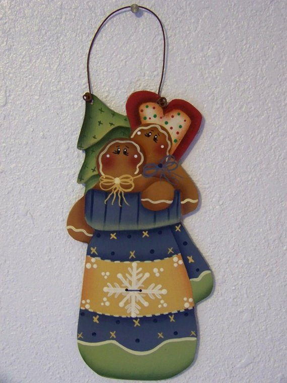 Winter Mitten with Gingerbread tree and by Bronsonscraftsnsuch, $5.00