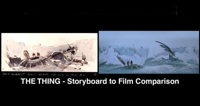 FULL ARTICLE: http://vashivisuals.com/the-thing-storyboards-to-film-comparison/ The visuals of both the desolate Antarctic and the ever-morphing alien creatures in THE THING were envisioned long before the movie was shot. Extensive storyboards were drawn by artist Michael Ploog so that all the departments of the production were on the same page in their preparation for the shoot.