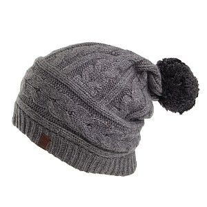 Timberland Hats Cable Knit Slouchy Beanie - Charcoal