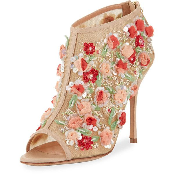 Manolo Blahnik Clizia Mesh Floral Peep-Toe Bootie (6.135.990 COP) ❤ liked on Polyvore featuring shoes, boots, ankle booties, nude, floral boots, peep-toe booties, short boots, peep-toe boots and sequin boots