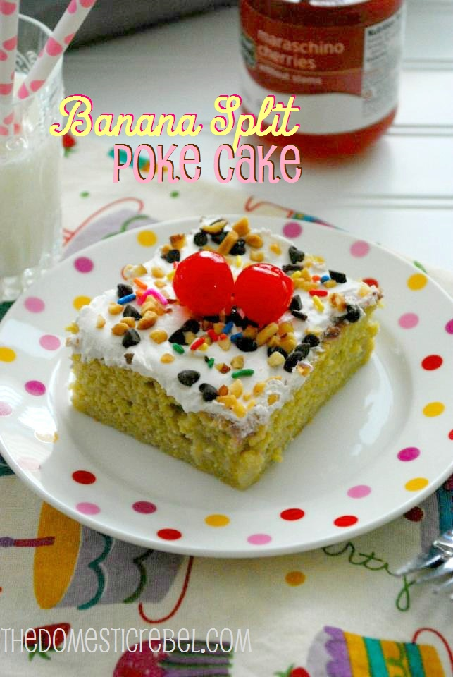 Banana Split Poke Cake! Enjoy all the flavors of a banana split in a deliciously moist, easy-to-make cake! So fun for summertime get-togethers! #bananasplit #cake #summer #sprinkles
