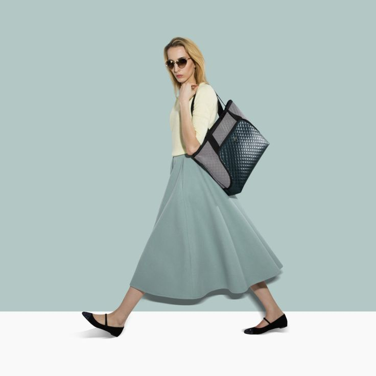 """GOSHICO, photo shoot, ss2015, Flowerbag, (shoulder """"M"""" bag), green + grey. To download high or low resolution photos view Mondrianista.com (editorial use only)."""