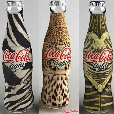 Coca-Cola Light bottles designed by Roberto Cavalli