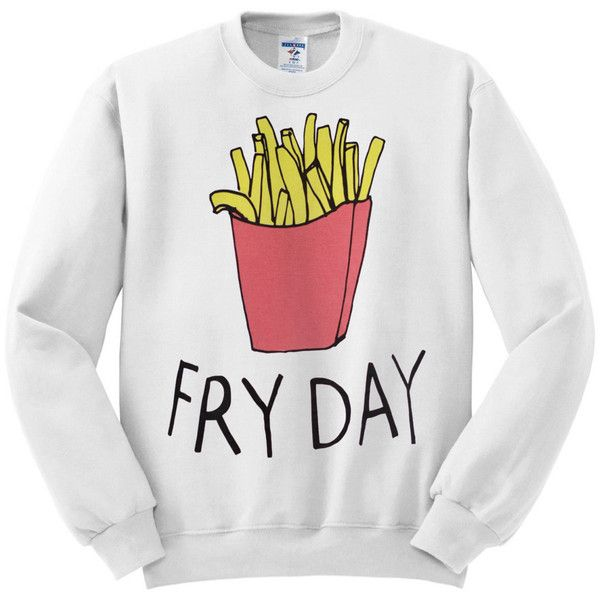Fry Day Friday Women's White Graphic Crewneck Sweater ($26) ❤ liked on Polyvore featuring tops, sweaters, crewneck sweater, white top, crew-neck sweaters, graphic crew neck sweaters and white sweater