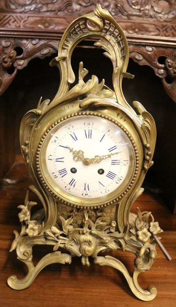 Antique Clock Mantle Bronze 19th