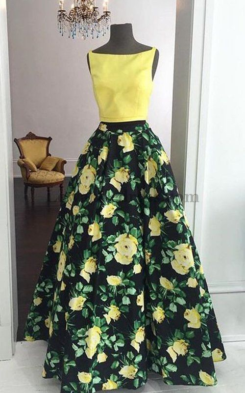 85aa5fd94cdc A Line Floral Print Two Piece Satin Prom Evening Dress 50401 Lewande ...