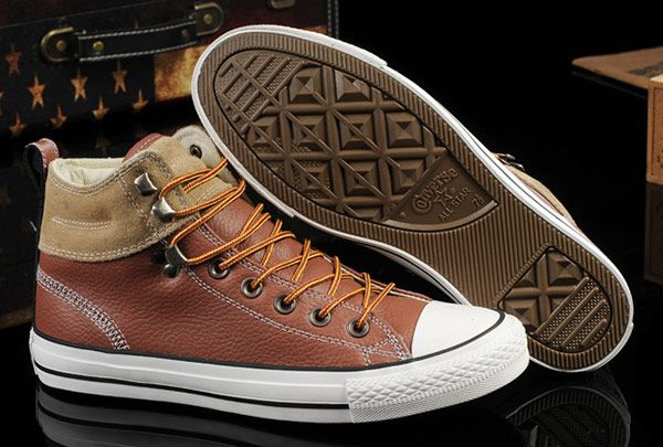 c0a90a2843b0 Converse Brown Leather Suede Padded Collar High Tops Chuck Taylor All Star  Shoes  converse  shoes