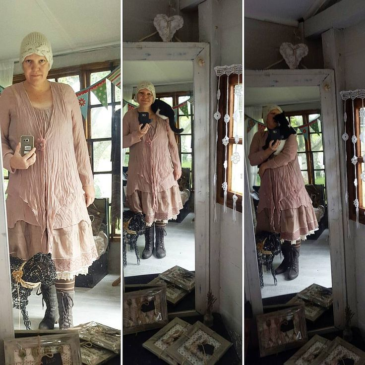 #day7 of #aweekofwhatiamwearing . The first picture is me sowing my #catboots #stripysocks #memade #pettycoat #cottonskirt #handmedowntop and bamboo hat knitted by a friend. The next tow pictures is of @pienkiecat who jumped on to my shoulder when I put my phone cover on and then she insisted on eating my nose! Have a wonderful Sunday! #showusyourpetticoat #northsouthbudies @heli_heinaaho would you like to play along for the next week?