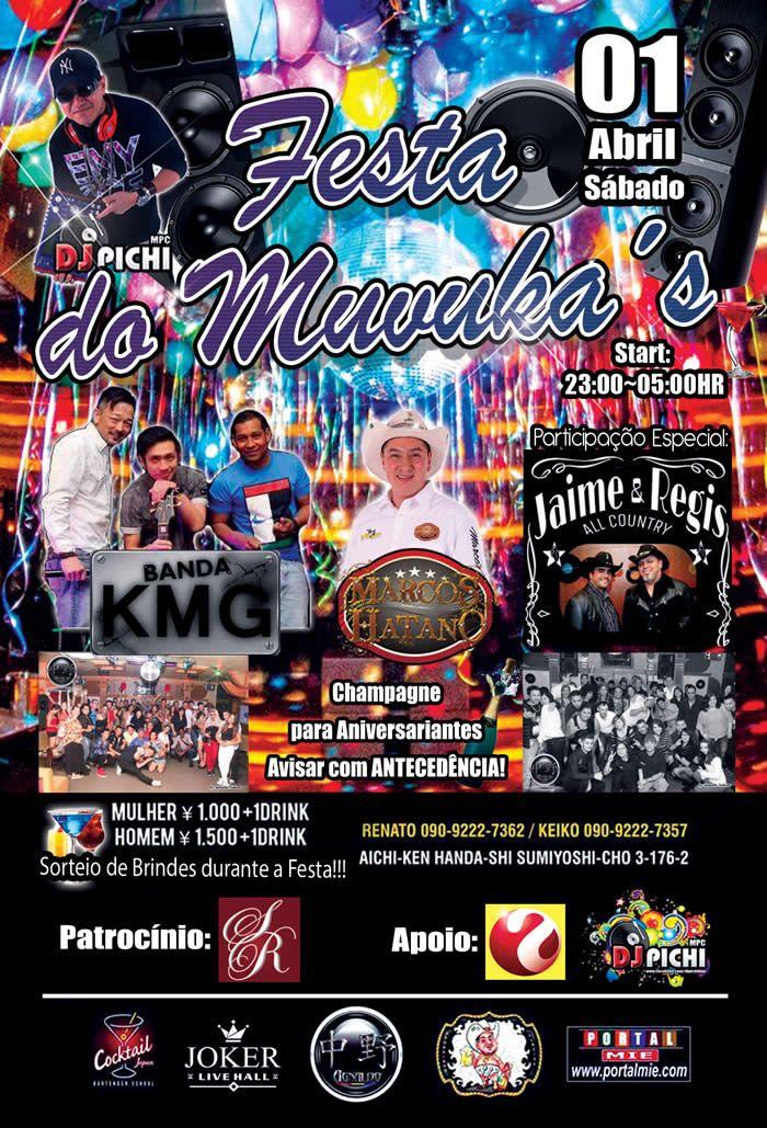 Balada com show ao vivo da banda KMG, Marcos Hatano e a participação especial da dupla Jaime e Regis além de DJ Pichi nas pick ups! Não perca!!!