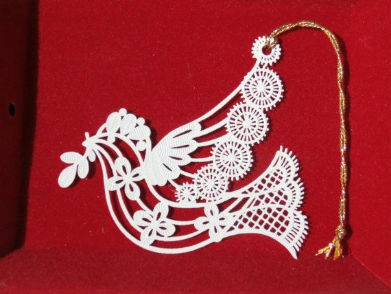 Winterlace Dove Ornament Lacy Metal Ornament made by Tamerlane.  1980s Vintage Christmas.