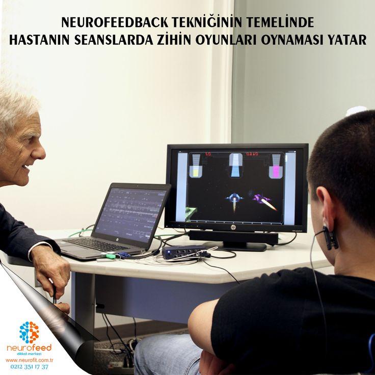 Neurofeedback seanslarında, hasta kafasına (saçlı deriye) yerleştirilen elektrotlar vasıtasıyla bilgisayar cihazına bağlıdır. Elektrotlar, beyinden gelen elektrik paternlerini ölçer, ekrana yansıtır. Beyne herhangibir elektrik akımı vermez. Hasta, hangi beyin dalgası aktivitesinin geri bildiriminin yapıldığını bilgisayar monitöründen görebilir. Bilgisayar tarafından sağlanan görsel ve işitsel geri dönüş sayesinde hastalar yavaş dalgaları thetayı, deltayı azaltıp hızlı dalgaları betayı, smr…