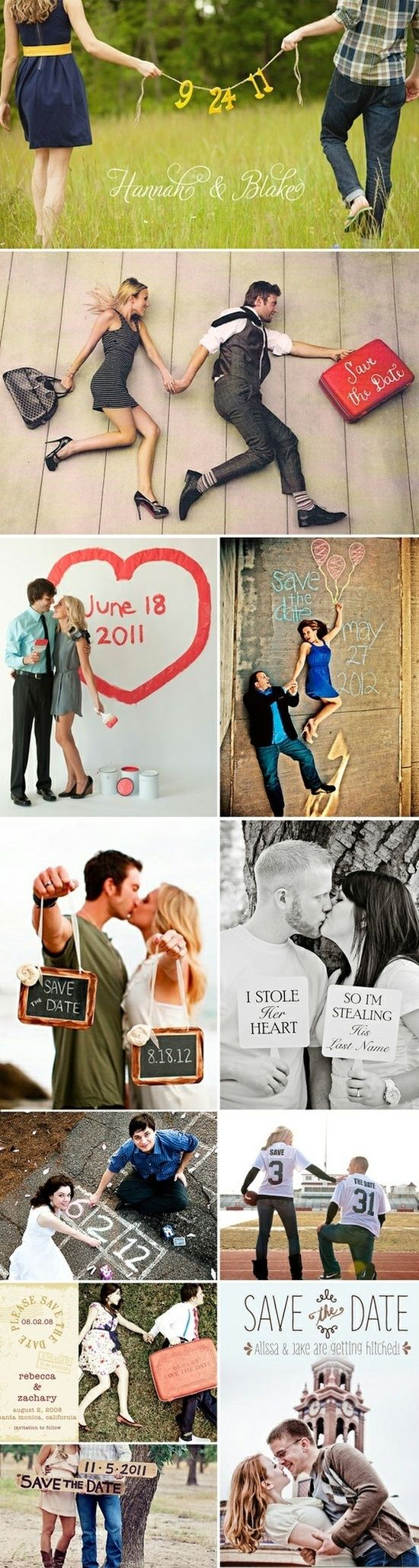 "Some cute save the date ideas! Personally like the ""i stole her heart... So i'm stealing his last name"""