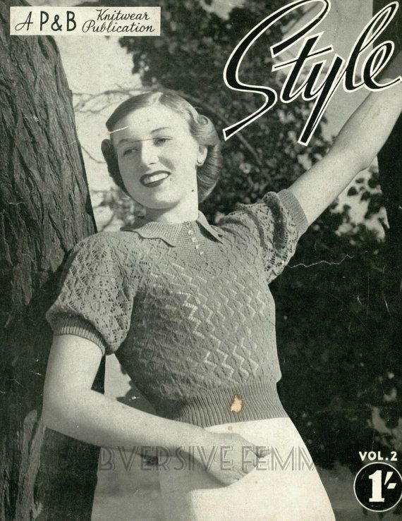 Gaiety, a 1930s-40s delicate lace jumper - vintage knitting pattern PDF (330)