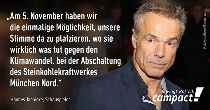 Lieber Münchner/innen. Am Sonntag setzen wir ein Zeichen GEGEN Kohleverbrennung und FÜR Gesundheit und Klimaschutz! Danke für die Unterstützung, Hannes Jaenicke.