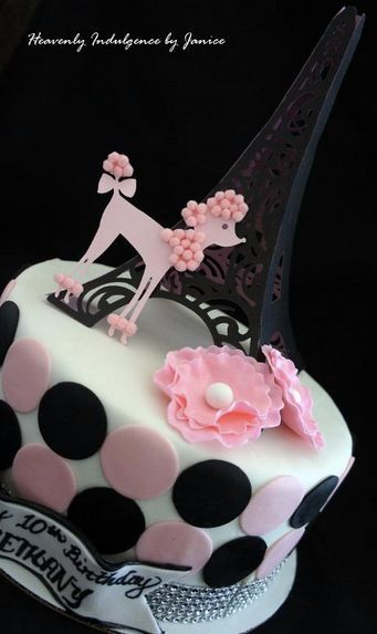 Pink and black poodle Paris cake