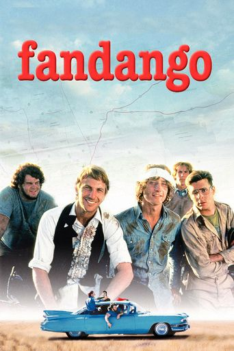 "Fandango (1985). Five college friends from Texas in 1971 go on a ""last"" road trip together, celebrating the ""privilege of youth"" as they face graduation, marriage, and the draft for the Vietnam War. Starring Kevin Costner, Judd Nelson and Sam Robards, it was writer-director Kevin Reynolds first full-length film, after being ""discovered"" by Spielberg while in USC film school. Marvin McIntyre stole the show during a hilarious skydiving sequence."