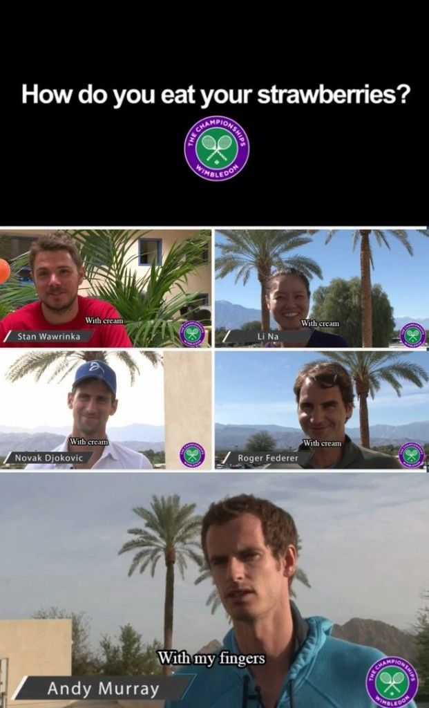 When tennis players were asked how they eat their strawberries.