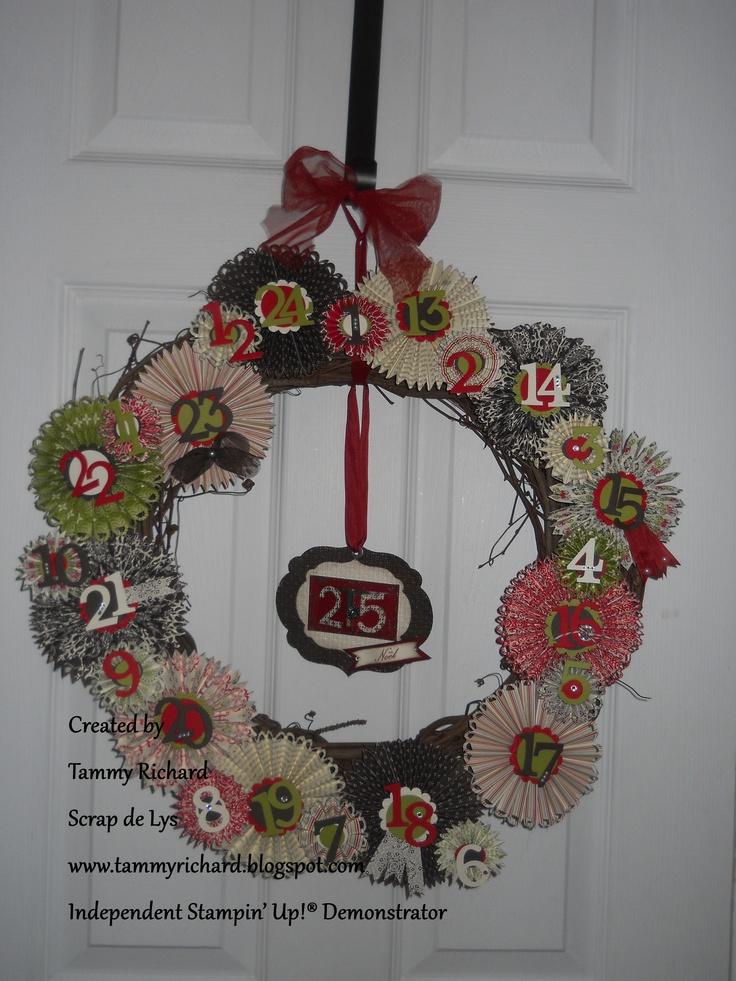 My own creation. A x-mas calendar advent wreath. visit my blog for more info.  www.tammyrichard.blogspot.com