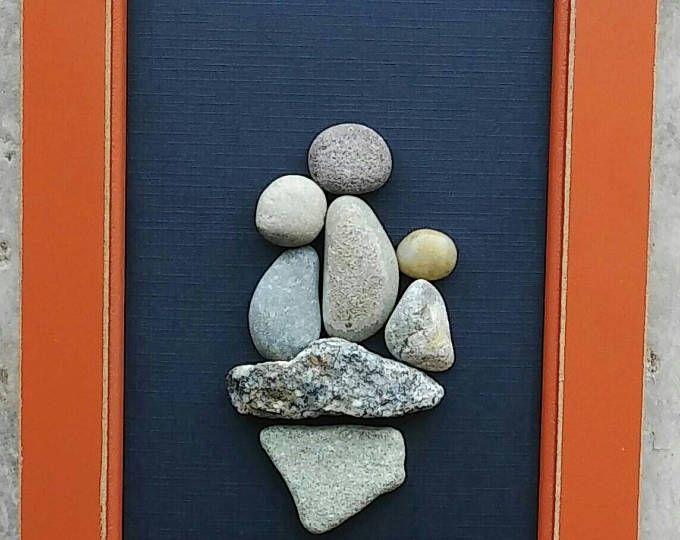 Guijarro, arte, arte rupestre, guijarro arte familia, familia de Art Rock, familia de tres, día de la madre, día del padre, 4 x 6 «abierto» marco (envío gratis)
