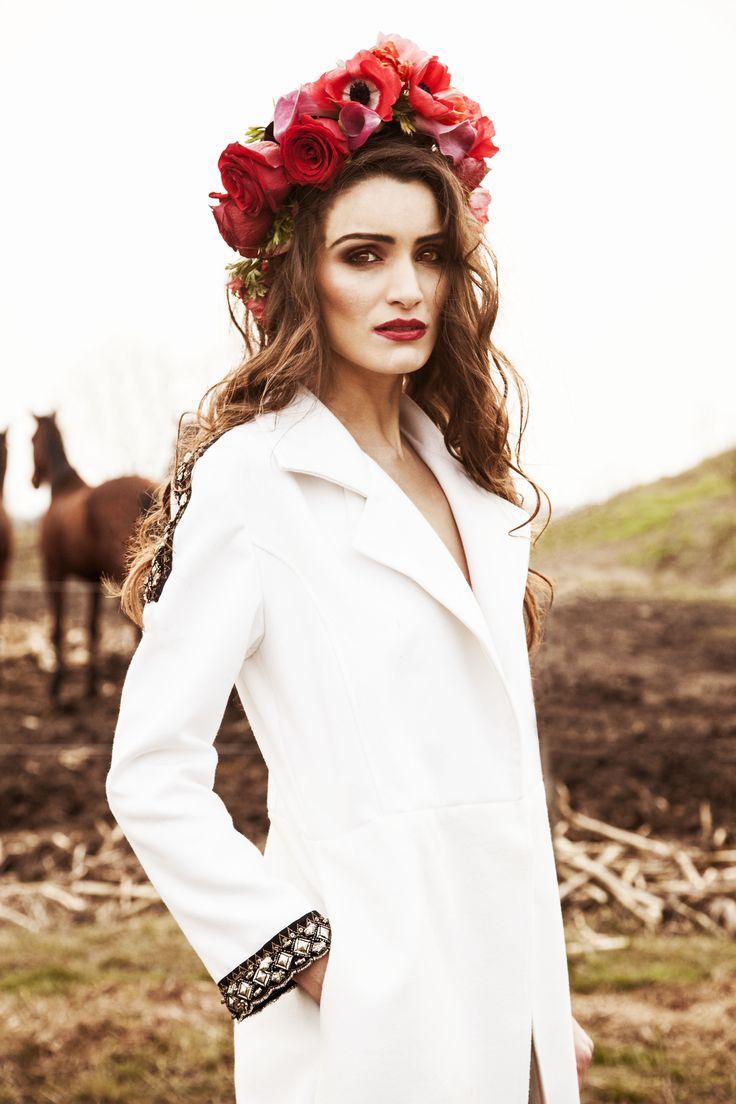 ☼ Definitely the perfect spring look  BabyWhiteCoat by ROMÁN GABRIELLA Photo #AnitaAirizer Make-up & Hairstyle #DeniIovan  https://www.facebook.com/RomanGabriella.Designer?fref=ts&ref=br_tf