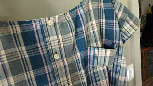 Chemise d'homme transformée en top pour môa – Des fourmis dans les doigts ….