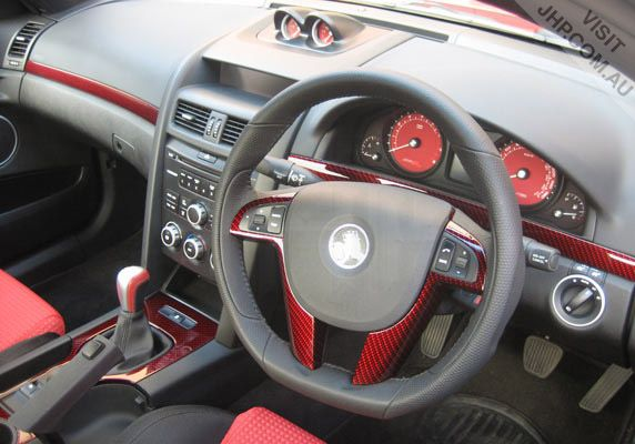 Carbon Fibre trim available in a variety of colours - dash, centre console & steering wheel. $760 http://jhp.com.au/holdenve/CarbonFiberTrim.htm