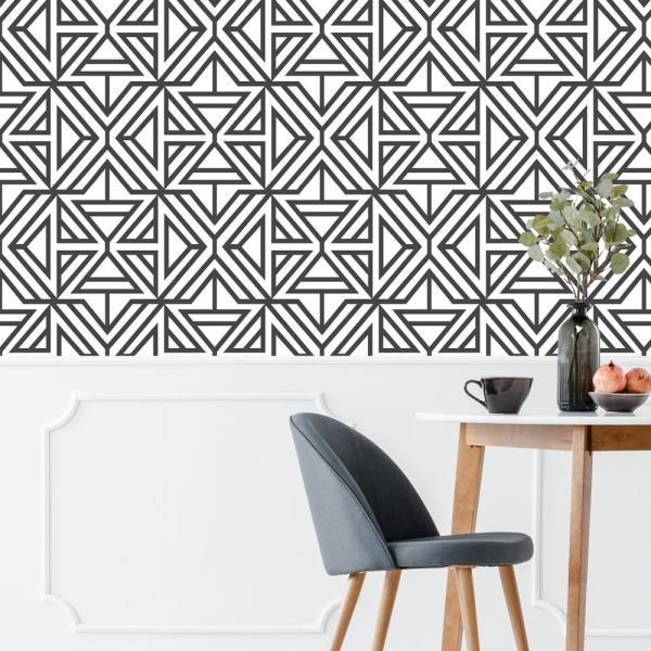 NuWallpaper Black Linear Peel and Stick Wallpaper NUS3499