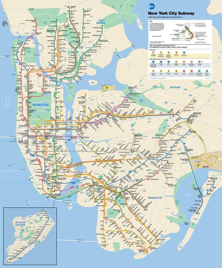 Mapa del metro de Nueva York 2017