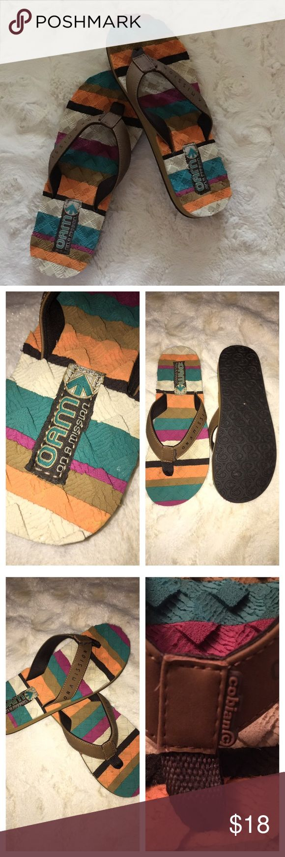 Cobian Flip Flops 🌿 New. They have a couple of small places where something was pressed against them while being stored, see last picture. Cobian Shoes Sandals
