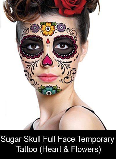 Sugar Skull Temporary Face Tattoo (Heart & Flowers)