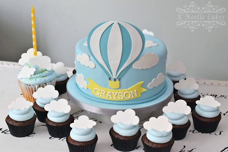 Hot air balloon 1st birthday cake by K Noelle Cakes