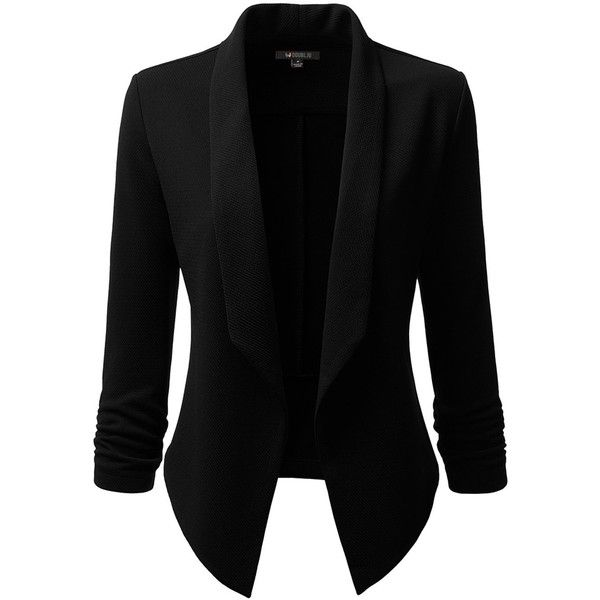 Doublju Classic Draped Open Front Blazer For Women With Plus Size ($18) ❤ liked on Polyvore featuring outerwear, jackets, blazers, drape jacket, draped blazer, doublju, open front jacket and women's plus blazers jackets