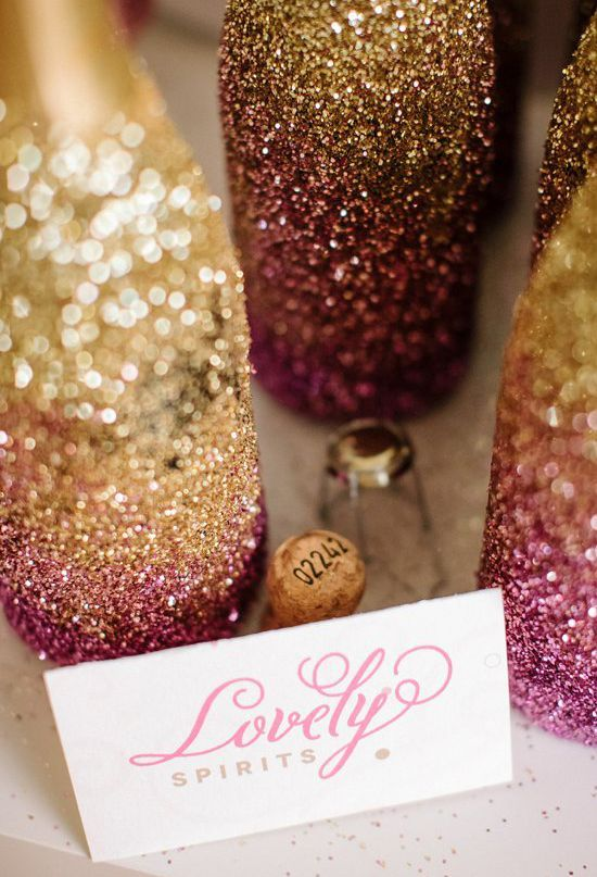 bedazzled champagne bottles. Excellent way to decorate our favors!