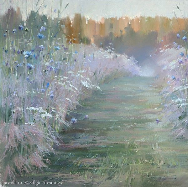 Pastels by Olga Abramova. Kenozero. Russian North. Сhicory, 2014. Кенозерье. Цикорий