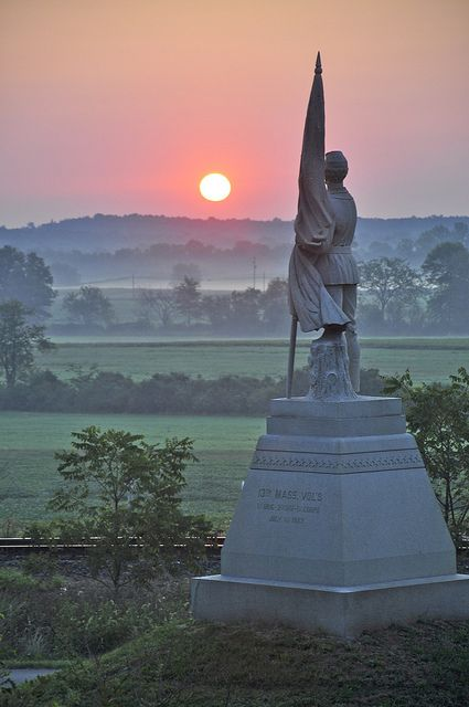 Gettysburg sunrise over the battlefield and 132nd Massachusetts Monument