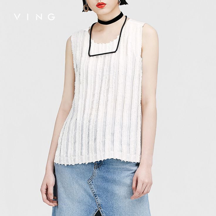 VING Funny Tanks  2017 Summer Women Sleeveless Pleated Patchwork Solid Stripe Joker Tank