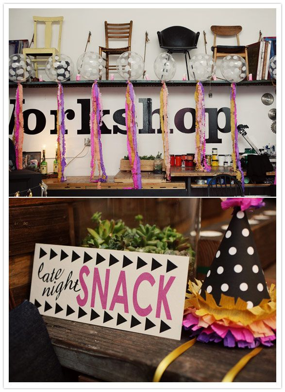 colorful 30th birthday party  I love the mixing of the rustic workshop with the modern, grahpic elements of the birthday party.  #stylelab