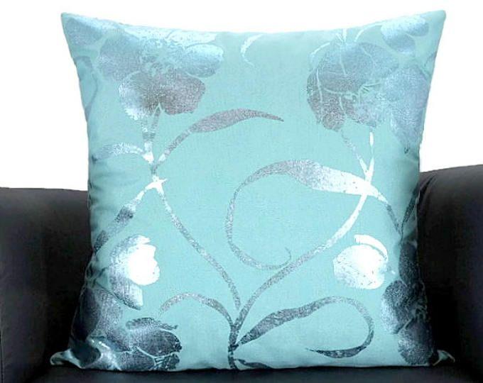 Verde acqua floreale dipinta tiro cuscino coprire – 18 20 x 20 x 18 – fodera per cuscino glitter natura – estate primavera sedia divano pillow sham d'accento