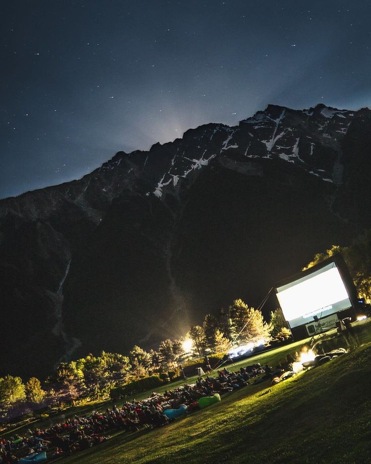 Whistler BC Canada.  Outdoor movie night in the Sumer