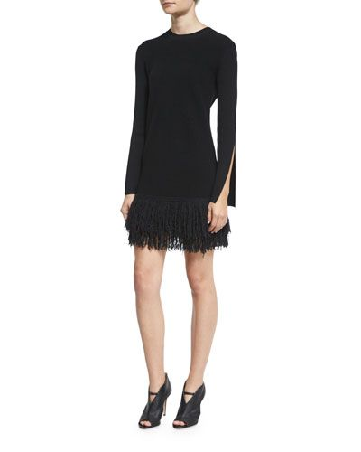 TCQ5T McQ Alexander McQueen Slit-Cuff Fringe Mini Dress, Darkest Black