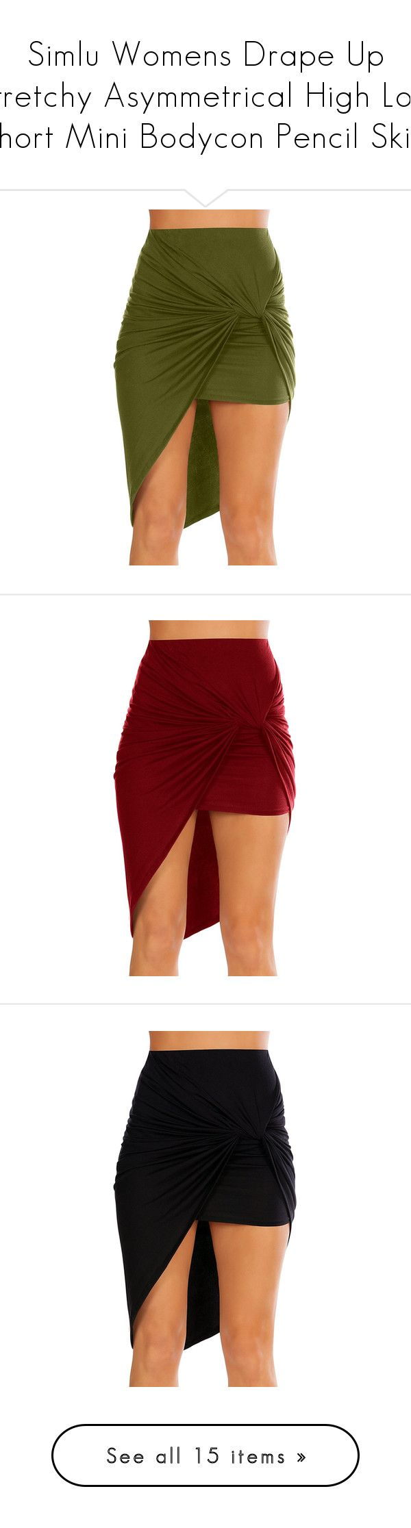 """Simlu Womens Drape Up Stretchy Asymmetrical High Low Short Mini Bodycon Pencil Skirt"" by simlu-clothing ❤ liked on Polyvore featuring skirts, mini skirts, red bodycon skirt, short pencil skirt, bodycon pencil skirt, red pencil skirt, red mini skirt, pencil skirts, bodycon mini skirt and hi lo skirt"