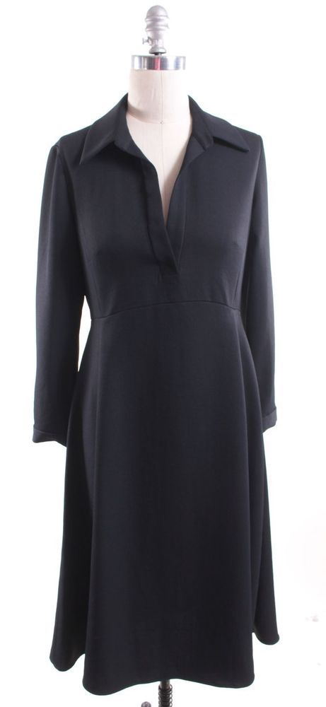 RACHEL COMEY Black V-Neck Collared Long Sleeve Pleated Dress Size 4 #RachelRoy #Shift #WeartoWork