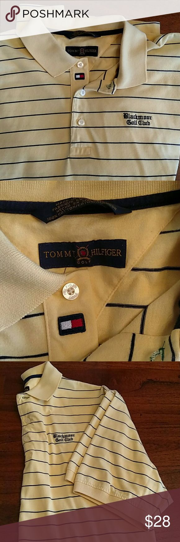 """Tommy Hilfiger Golf Shirt Sharp looking striped golf shirt. Tag was removed as far as size but measures across chest as 21"""" and armpit to hem measures 18"""". Tommy Hilfiger Shirts Polos"""
