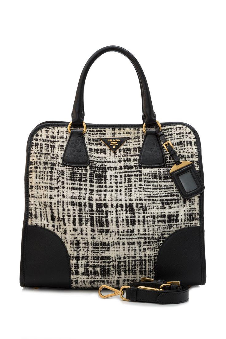 Pre-Owned Prada Tela Tweed Saffiano Shopping Bag Avorio Dis.T ...