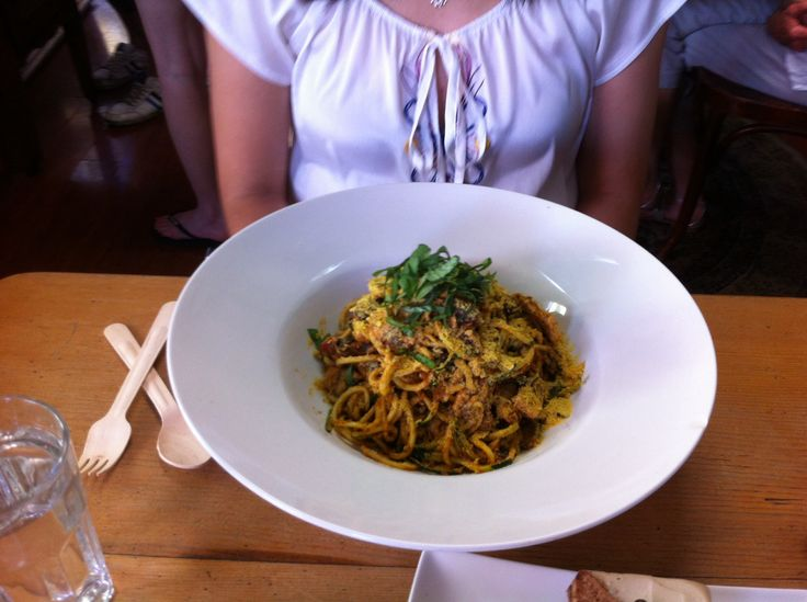 Zucchini pasta from Raw Kitchen in Fremantle. Vegan, gluten AND dairy free... And DELICIOUS. Wow.