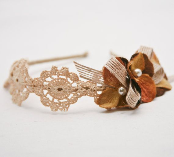 bulap and vintage lace flower headband for women by BeSomethingNew, $40.00